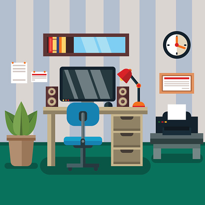 Workspace In Room With Flat Work Study And Interior Icons