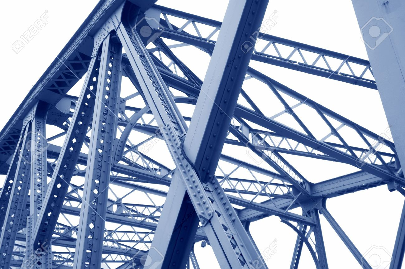 ۱۴۱۲۱۰۶۴ Support Above The Bridge Steel Structure Close Up–Stock Photo