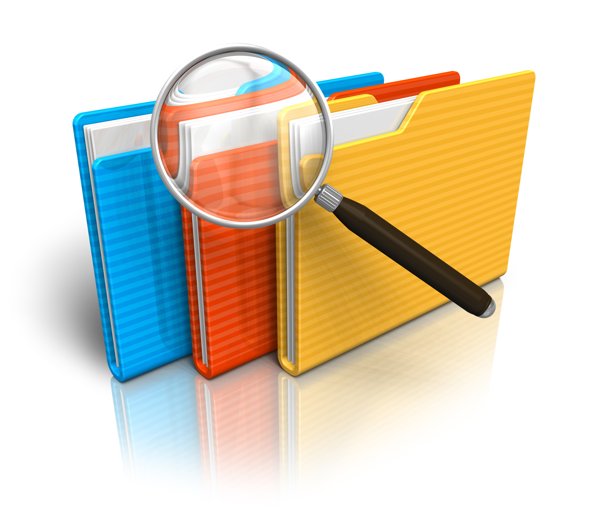 File search concept: folders and magnifying glass